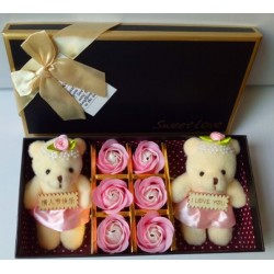 Romantic Teddy Bear Flower Soap