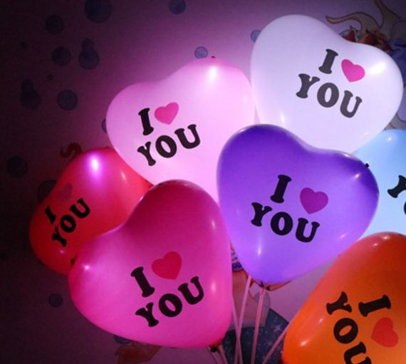 I Love You: 'I Love You' Love Shape LED Balloon