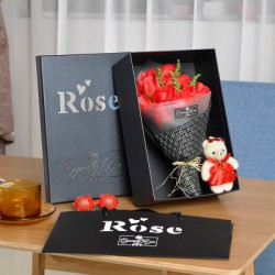 11pcs Red Roses Bouquet with Teddy Bear