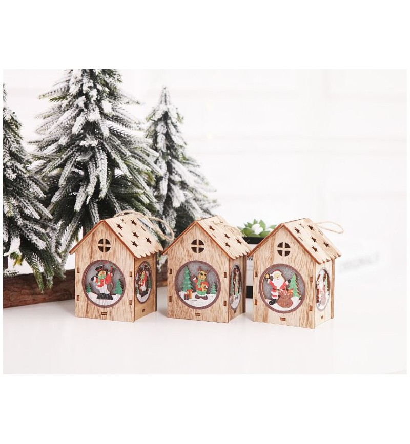 Christmas Tree Ornament Cute Wooden house with LED light